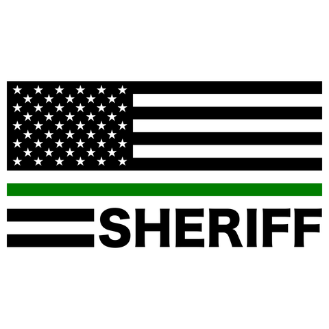 Thin Green Line Sheriff American Flag Decal