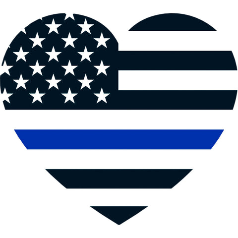 Thin Blue Line American Flag Heart Decal