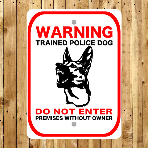 Warning Trained Police Dog Reflective Sign