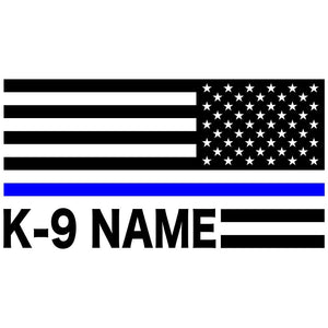 Thin Blue Line American Flag Custom K-9 Decal Reversed