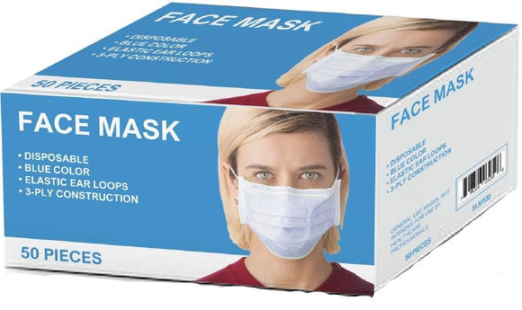 Disposable General Purpose Face Masks, 3-Ply, Elastic Ear Loops, Blue, 50/Box