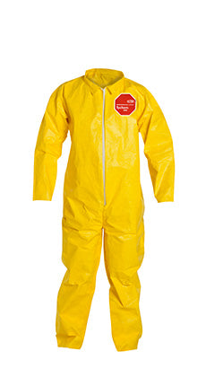 DuPont™ Tychem® 2000 Yellow Polyethylene Coverall, Collar, Open Wrists and Ankles. Yellow (QC120SYL)