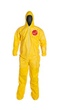 DuPont™ Tychem® 2000 Yellow Polyethylene Coverall, Standard Fit Hood. Elastic Wrists. Attached Socks. Yellow (QC122SYL)
