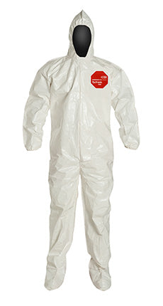 DuPont™ Tychem® 4000 Coverall. Standard Fit Hood, Elastic Wrists, Attached Socks, Storm Flap with Adhesive Closure, White (SL122BWH)