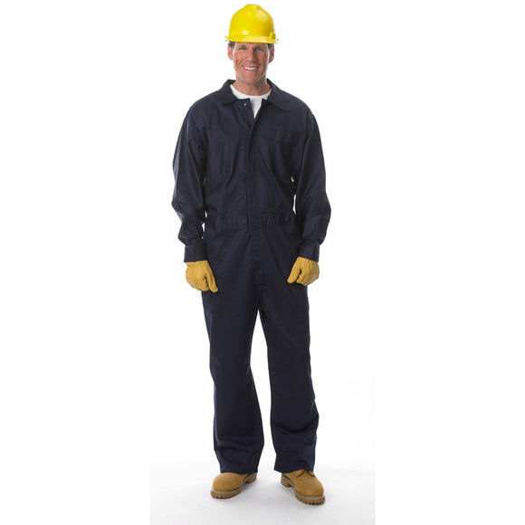 Lakeland Coverall, Navy Blue 9oz 100% FR Cotton, Flame Resistant