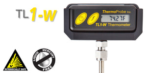 "TL1-W Precision Intrinsically Safe Portable Stem Thermometer, 0-300F Range, Rugged Design, 8"" Probe"