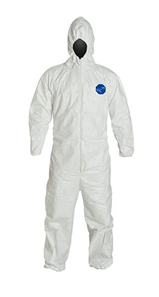 DuPont™ Tyvek® 400 Coverall, Comfort Fit Design, Respirator Fit Hood, Elastic Wrists and Ankles, Elastic Waist, White (TY127SWH)