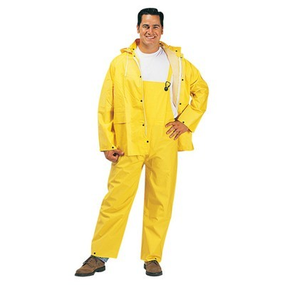 Rainwear, 3-Piece Set Includes Jacket with Detachable Hood and Bib Overalls, Yellow, .35 mm PVC/Polyester (1220)