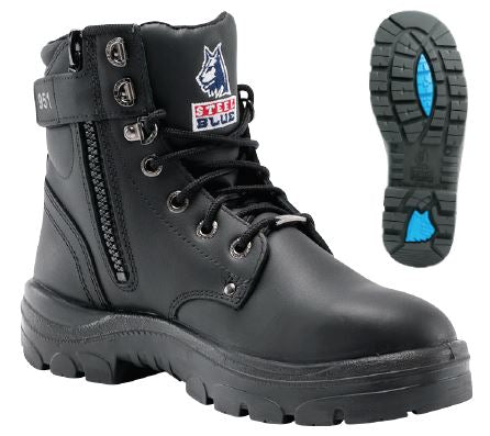 Steel Blue Argyle Zip, 6in Full Grain Leather Work Boot, Steel Toe, Padded Collar and Side Zipper, Static Dissipating, Black (312951)