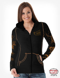 Cowgirl Tuff Black Athletic Zip Hoodie With Cowboy And Indian Sleeve & Chest Print