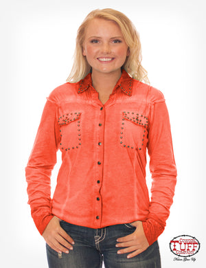 Cowgirl Tuff Coral Dirty Wash Button-Up With Studs