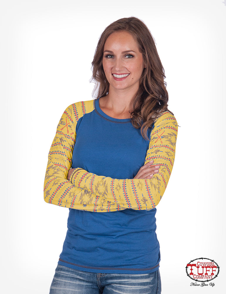 Cowgirl Tuff Blue And Yellow Raglan Long Sleeve Tee With Aztec Sleeve Print