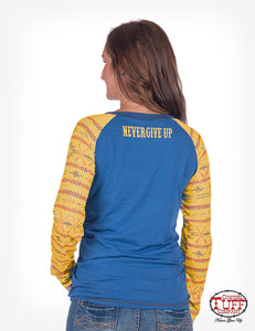 Blue And Yellow Raglan Long Sleeve Tee With Aztec Sleeve Print
