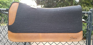 "5 Star 32"" x 30"" Roper Pad - Black / Aged Bark w/ Black Buckstitching -  3/4"" Thick (FF)"
