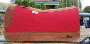 "30"" x 30"" All Around Pad - Red / Dark Brown w/ Red Buckstitching"