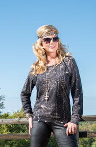 Cowgirl Tuff Black Long Sleeve Tee With Splatter Effect