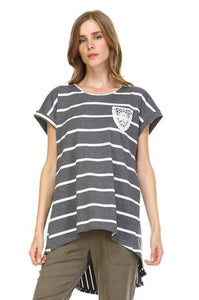 JOH Grey Short Sleeve Tee w/ White Stripes