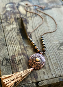 Cheeky's El Rancho Concho Tassel Necklace - Copper & Ivory