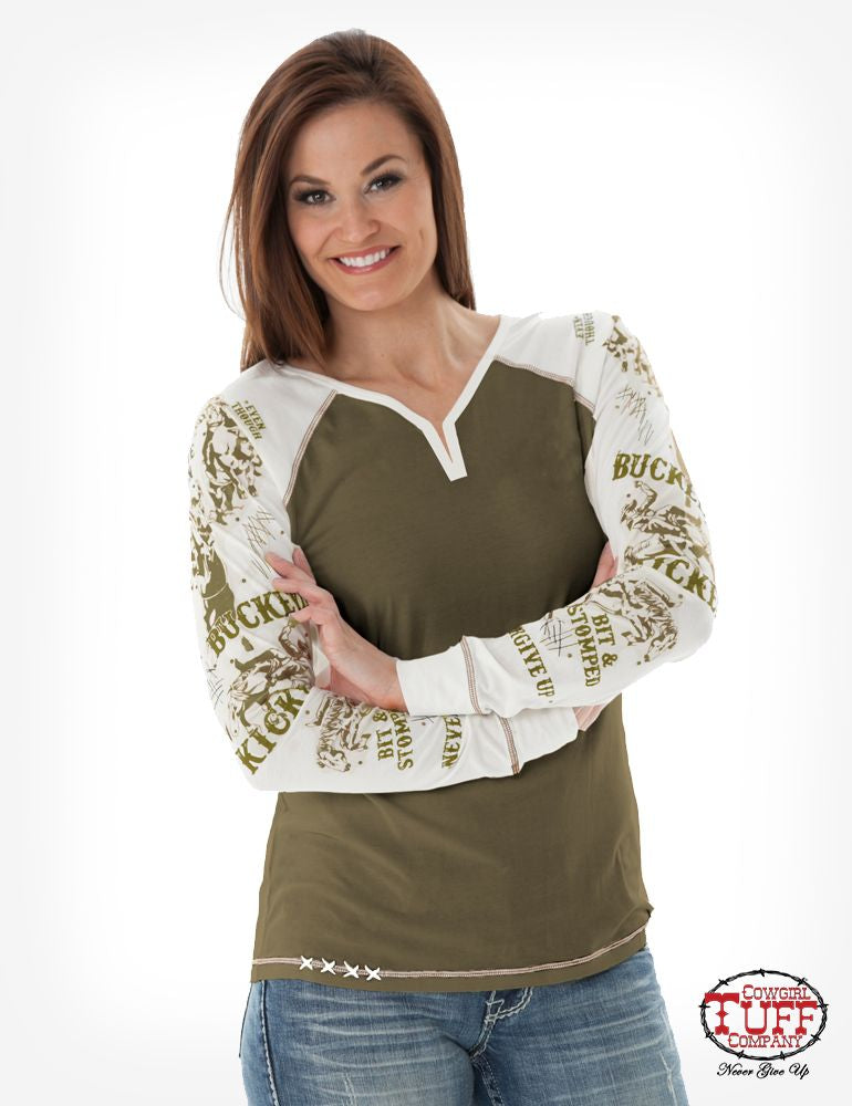 Cowgirl Tuff Army Green Long Sleeve Tee With Cream Sleeves