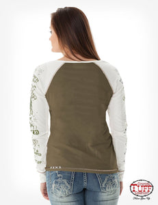 Army Green Long Sleeve Tee With Cream Sleeves And Buckin' Horse Print