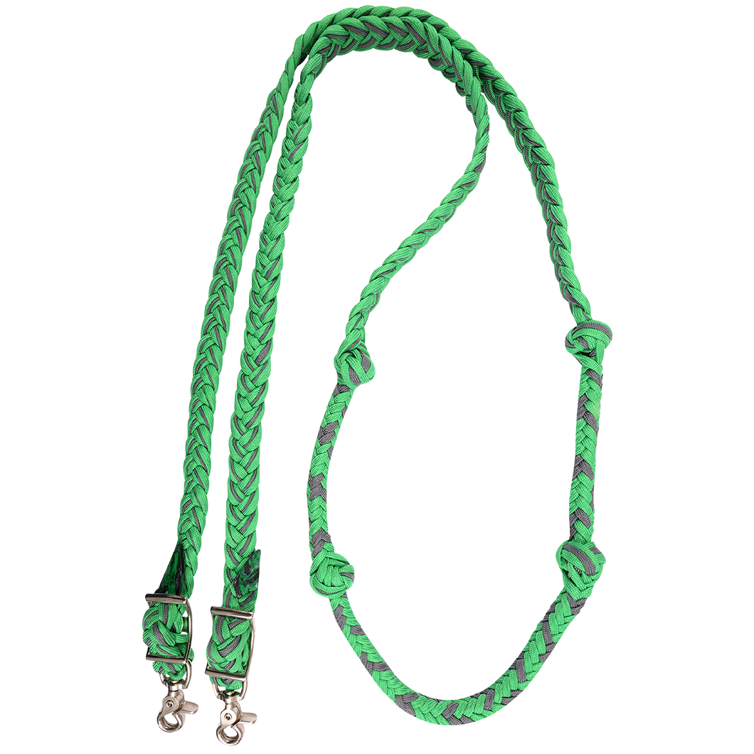 Braided Nylon Barrel Reins with Knots