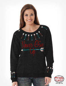Black Burnout Sweatshirt With Colorful Arrow Embroidery