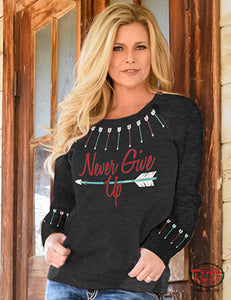 Cowgirl Tuff Black Burnout Sweatshirt