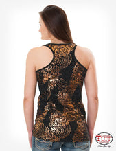 Black Racerback Tank With All-Over Leopard Foil Print