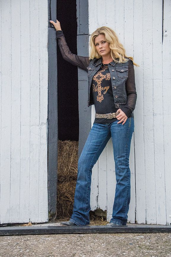 Cowgirl Tuff Black Long Sleeve Tee With Mesh Accents