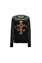 Black Long Sleeve Tee With Mesh Accents And Victory Cross Foil Print