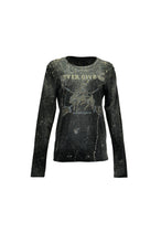 Black Long Sleeve Tee With Splatter Effect And Studded Cowboys & Indians Art