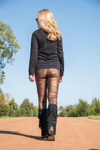 Black Raglan Long Sleeve Tee With Foil Print, Grommet Accent, And Zipper Detail
