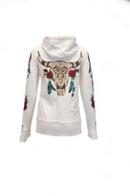 Cream Zip Hoodie With Longhorn And Roses Print