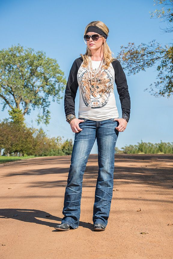 Cowgirl Tuff Cream And Black Raglan Long Sleeve Tee