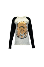 Cream And Black Raglan Long Sleeve Tee With Front Foil Skull Print