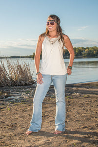 Cowgirl Tuff Cream Suede Tank With Studded V-Neck And Lacing