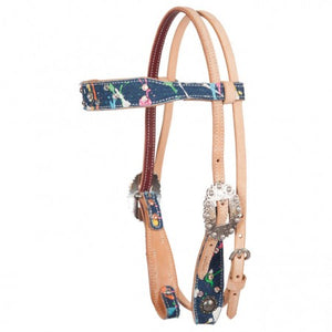 Fallon Taylor Paint Splatter & Denim Browband Headstall