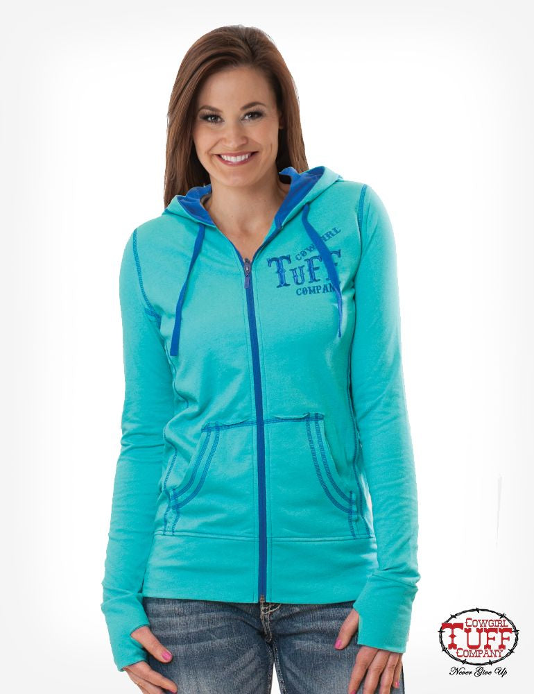 Cowgirl Tuff Turquoise and Blue Athletic Zip Hoodie