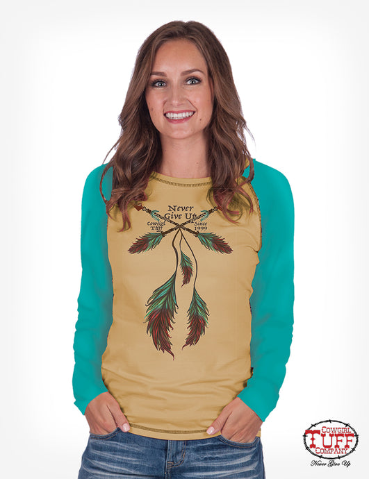 Cowgirl Tuff Honey And Teal Raglan Long Sleeve Tee With Feather Print