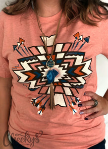 Cheeky's Miranda Aztec Unisex Tee on Dreamsicle