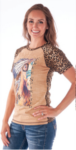 Cowgirl Tuff Tan And Leopard Print Short Sleeve Raglan Tee With Horse Print