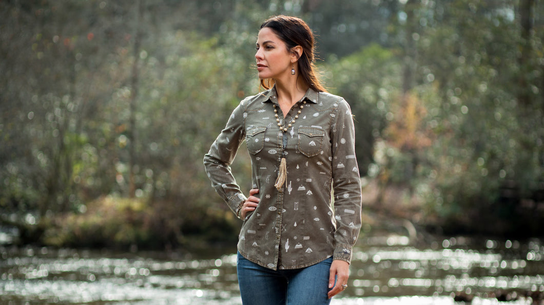 Ryan Michael Women's Motif Print Western Shirt
