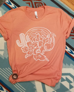 Peach Tee With Desert Graphic