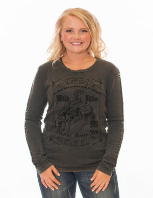 Cowgirl Tuff REVERSIBLE Black Long Sleeve Tee With Braided Sleeve Detail