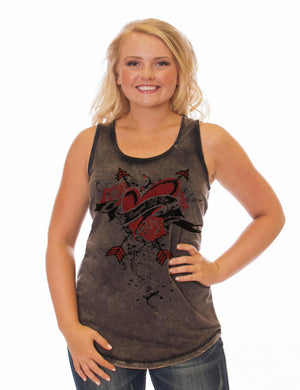 Cowgirl Tuff REVERSIBLE Black Racerback Tank With Back Braid Detail