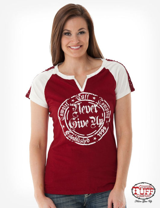 Cowgirl Tuff Red And Cream Raglan Tee