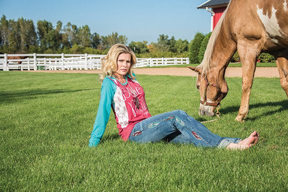 Cowgirl Tuff Red And Turquoise Hoodie With Cream Lace Accent