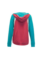 Red And Turquoise Hoodie With Cream Lace Accent And Front Embroidery