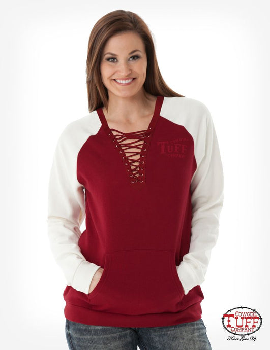 Cowgirl Tuff Red Burnout Sweatshirt With Front Lace-Up Detail