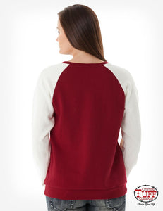 Red Burnout Sweatshirt With Front Lace-Up Detail, Cream Sleeves, And Chest Embroidery